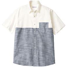 綿100%切替デザインシャツ(半袖)/爽やかスラブシャンブレー素材