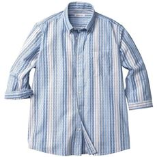 綿100%変わり織りストライプ柄シャツ(7分袖)