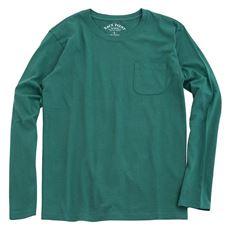綿100%クルーネックTシャツ(長袖)/オーガニックコットン使用素材