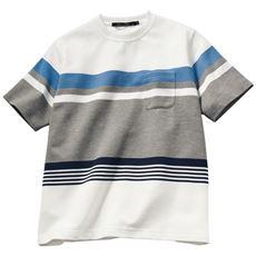 ドライ・パネルボーダー柄Tシャツ/肌触り◎なリップル素材