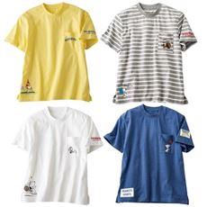 綿100%ポケット付きTシャツ(SNOOPY)