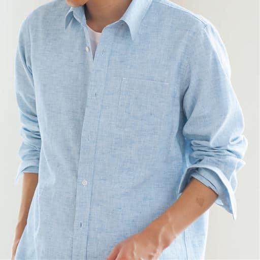 きれいめ仕上げリネンブレンドシャツ(長袖)/上品な刷毛目織り素材