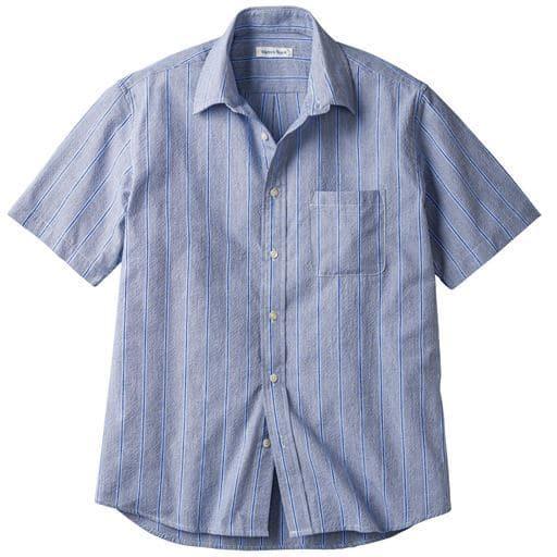 ドライ・表面変化ストライプ柄シャツ(半袖)