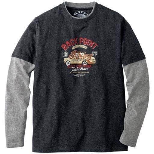 綿100%レイヤード仕様プリントTシャツ