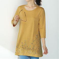 プリントロングフレアTシャツ(7分袖)/お手入れ簡単 綿混