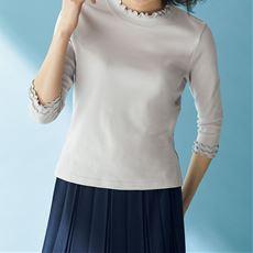 メローネック7分袖プルオーバー/綿100%(洗濯機OK)
