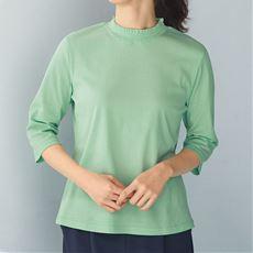 ひんやり綿100%衿シャーリング7分袖プルオーバー