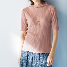 プリーツ5分袖Tシャツ(ほっそり見えシルエット)