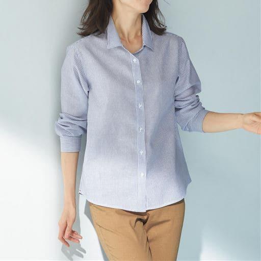 テンセル(TM)繊維コットンリネンシャツ/シワになりにくい 接触冷感 洗濯機OK UVケア