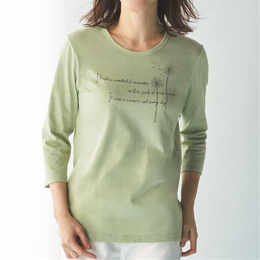 プリントTシャツ(7分袖)/お手入れ簡単 綿混