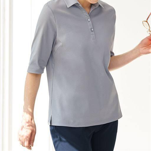 衿付きTシャツ/綿100%(洗濯機OK)