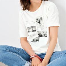 【ぽっちゃりさんサイズ】ロング丈プリントTシャツ(半袖)(綿100%)