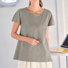 【ぽっちゃりさんサイズ】2枚仕立てフレンチスリーブTシャツ(綿100%)