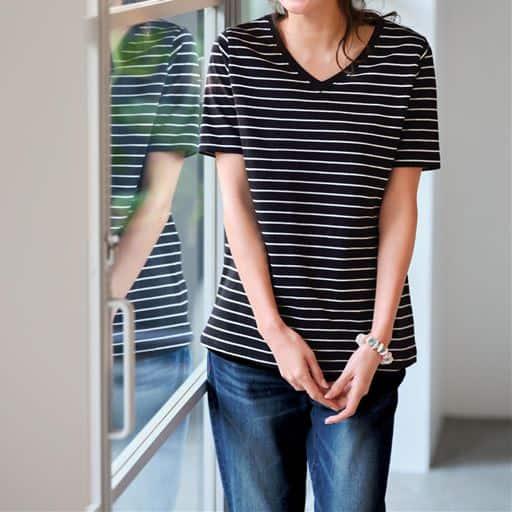 【ぽっちゃりさんサイズ】シンプルVネックTシャツ(半袖)(綿100%)