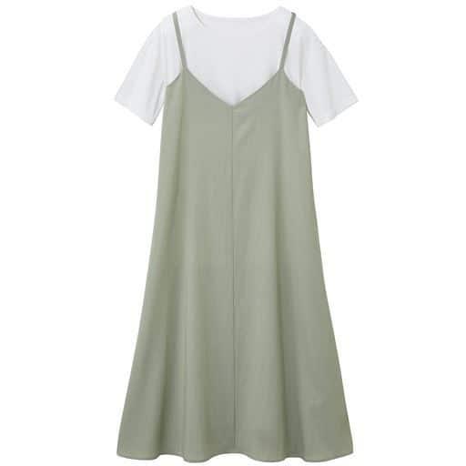 【ぽっちゃりさんサイズ】2点セット(Tシャツ+キャミワンピース)
