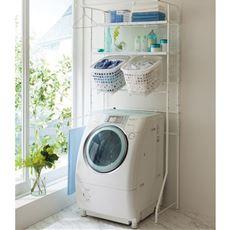 洗濯機ラック(伸縮式)/ハンガーバー付き