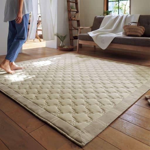 平織キルトラグ(綿100%)/たたみやすい 持ち運びラク