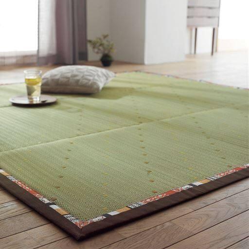 い草ラグ(ふっくら・ナチュラルテイスト) フローリングに合う自然な柄 フローリングの模様替え 畳ラグ