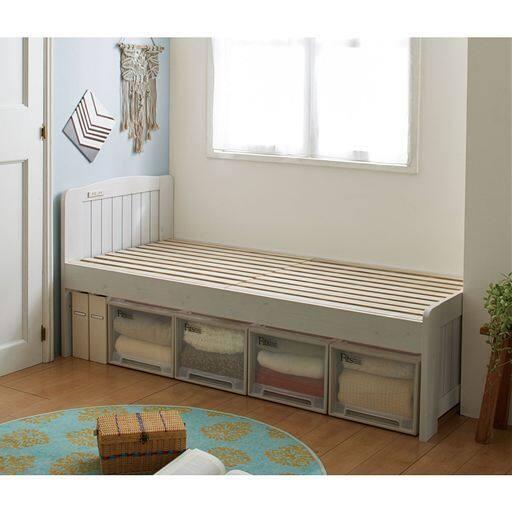 すのこベッド(ヘッドボード付き)/高さ3段階調整・2口コンセント付き