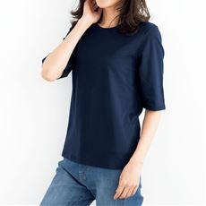 シンプルクルーネックTシャツ(5分袖)(洗濯機OK)