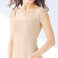 大きな汗取りパッド付きフレンチ袖インナー(綿100%・爆汗さん®)(吸汗速乾・消臭)