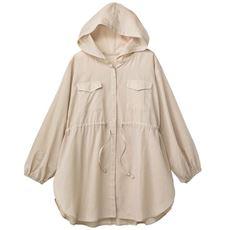 シアーフード付きシャツブルゾン/綿100% UVケア ウエストドロスト