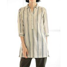 ダブルガーゼスキッパーチュニックシャツ(綿100%・洗濯機OK)