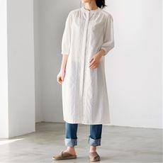 ドビー刺しゅうコットンロングシャツ(綿100%・洗濯機OK)