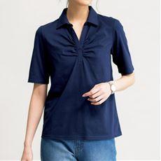 綿100%スキッパー襟付きTシャツ(半袖)(綿100%・洗濯機OK)