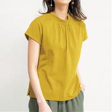 ハイネックフレンチスリーブTシャツ(綿100%・洗濯機OK)