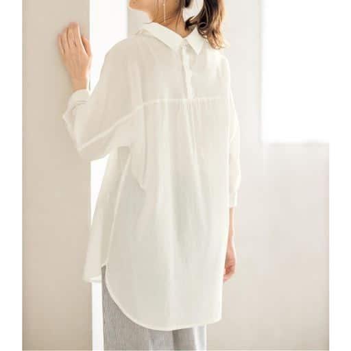 ゆったりシャツチュニック(洗濯機OK)/シワ感のある柔らかな綿100%素材