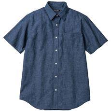 きれいめ仕上げリネンブレンドシャツ(半袖)/上品な刷毛目織り素材