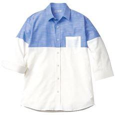 綿100%切替デザインシャツ(7分袖)/爽やかスラブシャンブレー素材