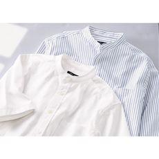 ストレッチドビー・バンドカラーシャツ(半袖)