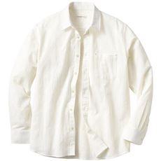 綿100%強撚パナマ織りシャツ(長袖)