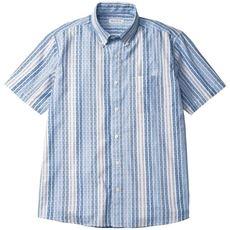 綿100%変わり織りストライプ柄シャツ(半袖)