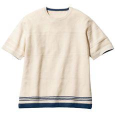 強撚ニットボーダー柄Tシャツ(おうちで洗えます!)