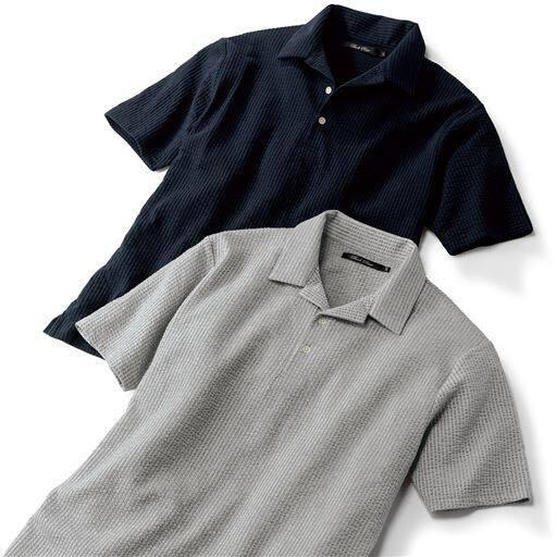 DRYサッカー調素材スキッパーポロシャツ
