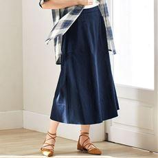 Aラインフレアスカート(デニム・後ろゴム+ファスナー付き)