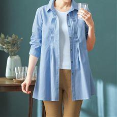 綿100%ツイストピンタックシャツ(洗濯機OK)/チュニック丈 7分袖