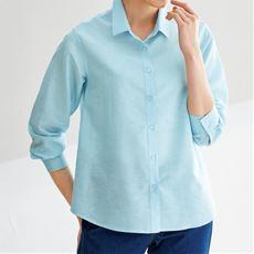 テンセル™繊維コットンリネンシャツ/シワになりにくい 接触冷感 洗濯機OK UVケア