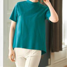 バックギャザーTシャツ/綿100% プチハイネック