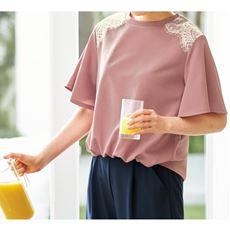 裾ギャザーフレアスリーブTシャツ/レース使い(洗濯機OK)