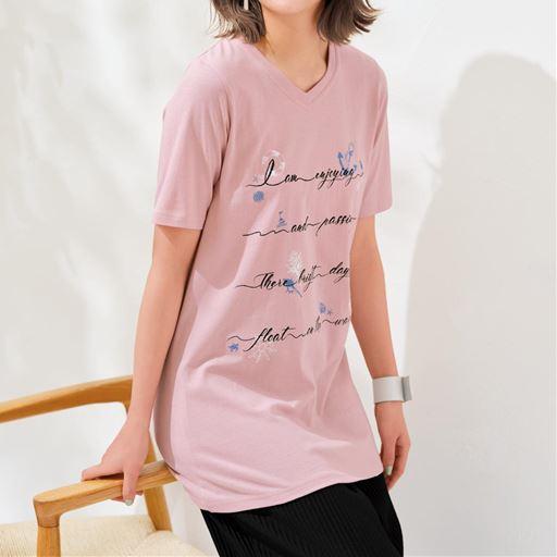 【ぽっちゃりさんサイズ】ロング丈VネックプリントTシャツ(半袖)(綿100%)