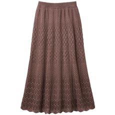 【ぽっちゃりさんサイズ】透かし編みニットスカート