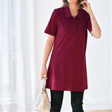 【ぽっちゃりさんサイズ】UVカットAラインチュニックポロシャツ(綿100%)