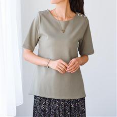 【ぽっちゃりさんサイズ】2枚仕立て5分袖Tシャツ(綿100%)