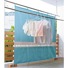 ベランダ遮熱カーテン(晴雨兼用)/目隠し 衣類の色あせ対策