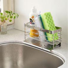 洗剤・スポンジラック(猫の足あとシリーズ)/シンクに水が流れる斜めトレー