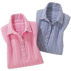 さらっと涼しげストライプシャツ(色違い2枚組)